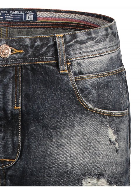 women Bermuda Ripped Denim Shorts - BLACK 2XL Mobile