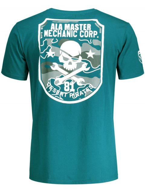 hot Graphic Skull Print Short Sleeve T-shirt - BLUE GREEN 2XL Mobile