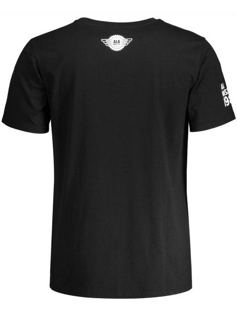 fancy Graphic Letter Skull Print Short Sleeve T-shirt - BLACK 2XL Mobile