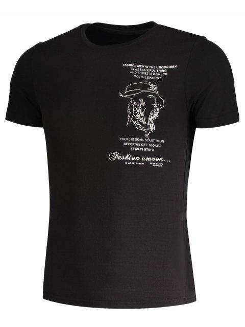 T-shirt en coton brodé pour femme - Noir L Mobile