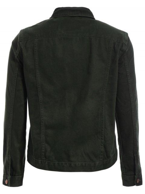 Slim Fit Front Pockets Denim Jacket - Vert Armée M Mobile