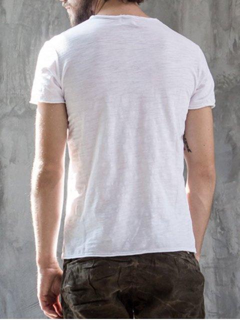 T-shirt en coton V Neck Basic - Blanc XL Mobile