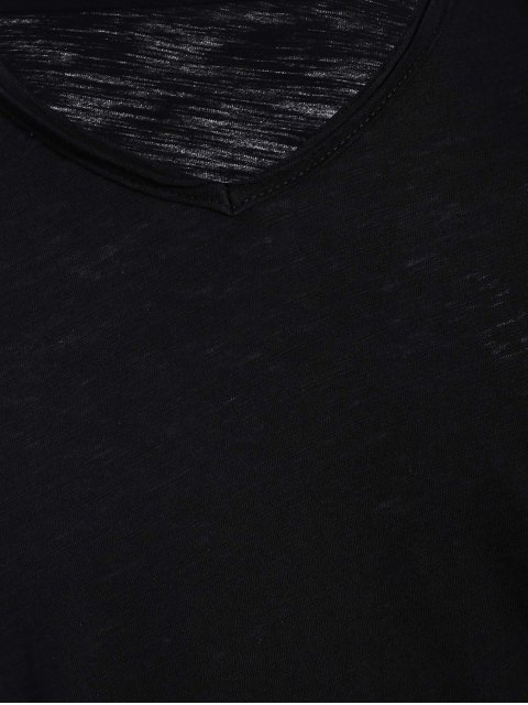 T-shirt en coton V Neck Basic - Noir XL Mobile