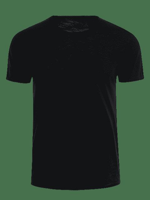 shop Round Neck Raw Edge Mens Basic Tee - BLACK XL Mobile