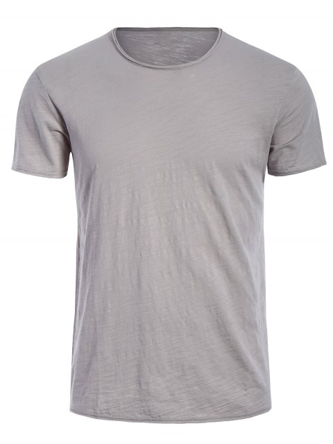 latest Round Neck Raw Edge Mens Basic Tee - GRAY XL Mobile