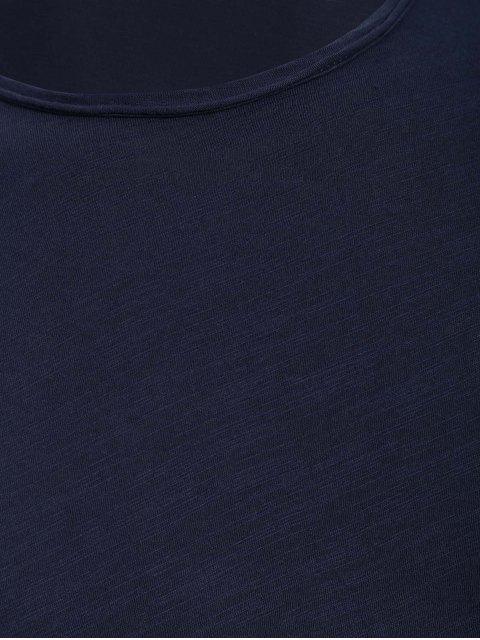 fashion Round Neck Raw Edge Mens Basic Tee - DEEP BLUE XL Mobile