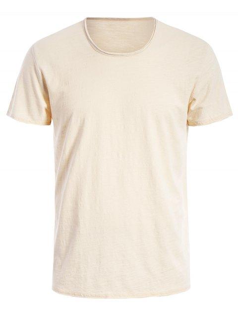 sale Round Neck Raw Edge Mens Basic Tee - OFF-WHITE XL Mobile