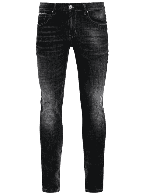 Zipper Fly Straight Worn Jeans - Noir 32 Mobile