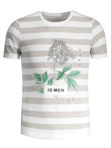 Mens Stripe Tree Print Crewneck Tee - Grey And White 3xl