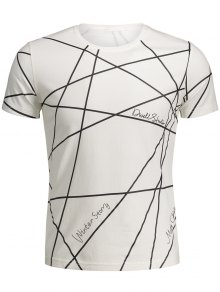 Mens Short Sleeve Geo Print Tee - White M