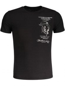 Embroidered Mens Slub Cotton Tee - Black M
