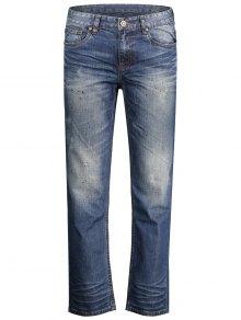 Worn Zip Fly Straight Jeans - Denim Blue 32