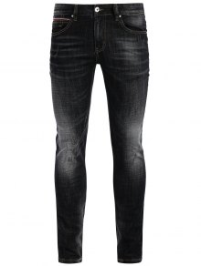Zipper Fly Straight Worn Jeans - Black 36