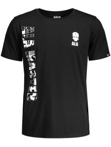 Graphic Letter Skull Print Short Sleeve T-shirt - Black M
