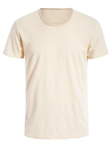 Round Neck Raw Edge Mens Basic Tee - Off-white Xl