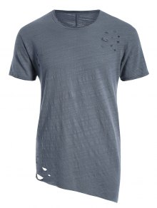 Raw Edge Distressed Asymmetric Tee - Blue Gray M