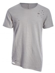 Raw Edge Distressed Asymmetric Tee - Light Gray L