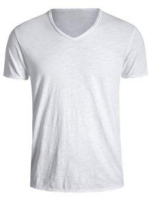 Mens V Neck Cotton Basic Tee - White Xl