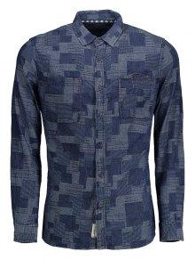 Long Sleeves Jacquard Mens Denim Shirt - Indigo M