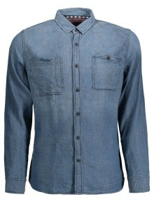 Diamond Jarcquard Long Sleeves Denim Shirt - Blue M