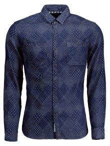 Long Sleeves Jarcquard Denim Mens Shirt - Blue Xl