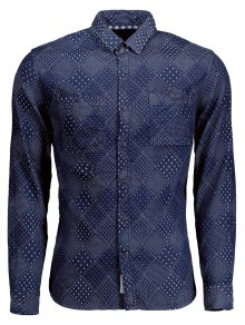 Long Sleeves Jarcquard Denim Mens Shirt - Blue 2xl