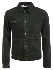 Slim Fit Front Pockets Denim Jacket - Army Green L