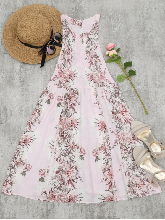 women Smocked Floral Half Buttoned Swing Dress - PINK S