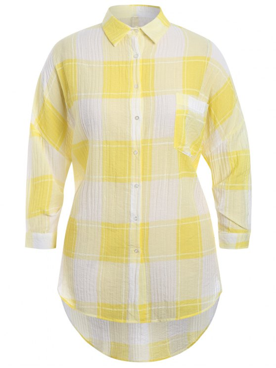 ladies Checked Plus Size High Low Shirt - YELLOW XL