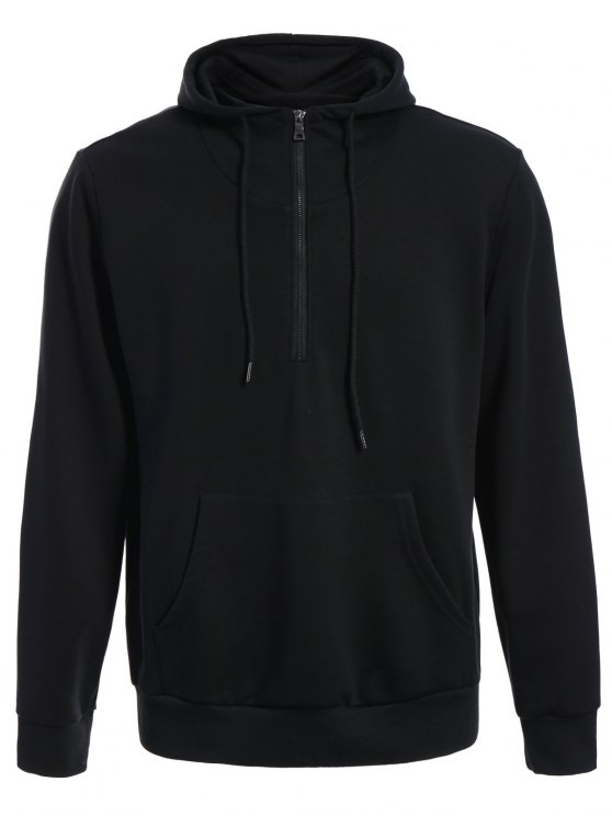 womens Mens Front Pocket Oversized Pullover Hoodie - BLACK L
