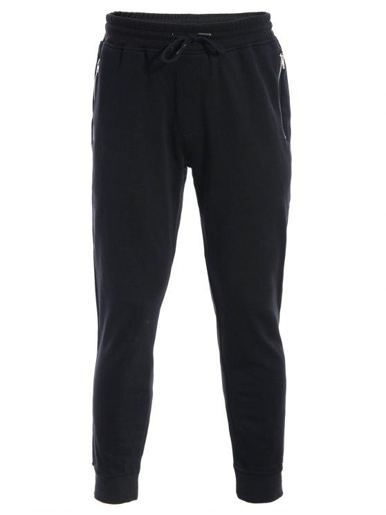 shops Zip Pockets Mens Joggers Sweatpants - BLACK L