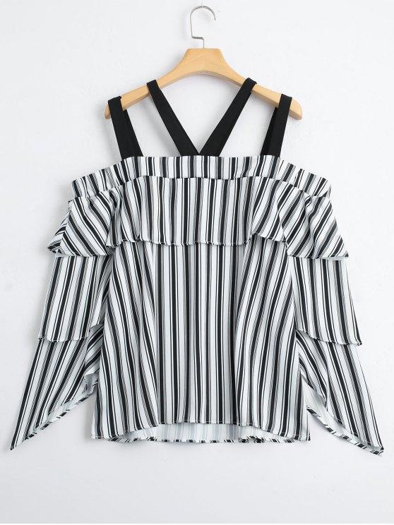 new Layered Stripes Cold Shoulder Blouse - STRIPE L