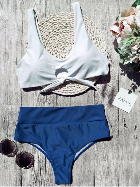 womens Scoop Color Block Tied Padded Bikini - WHITE S