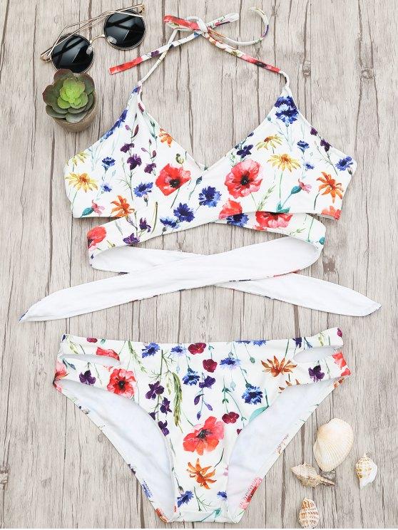 ladies Cut Out Tiny Floral Wrap Bikini - FLORAL S