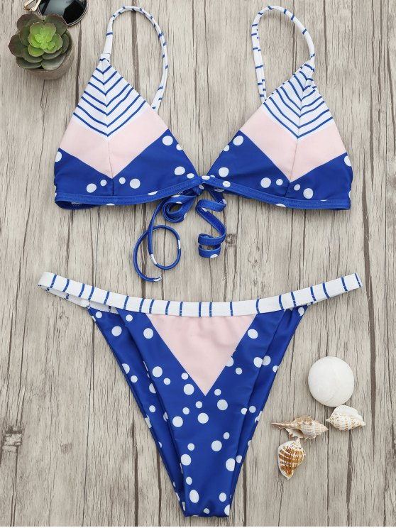 online Padded Chevron Dot Print String Bikini Set - BLUE AND PINK S