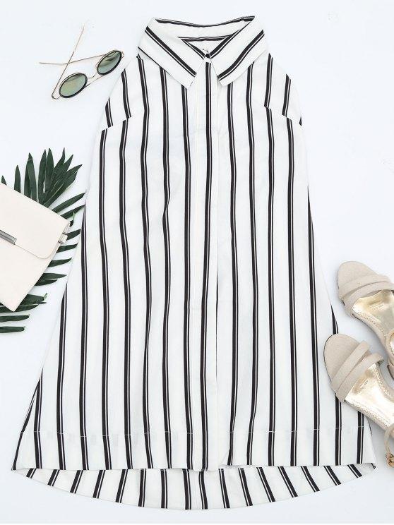 chic Bowknot Stripes Cut Out Tunic Dress - STRIPE L