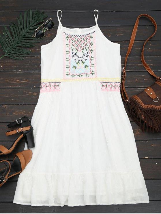 unique Embroidered Ruffles Midi Dress - WHITE L