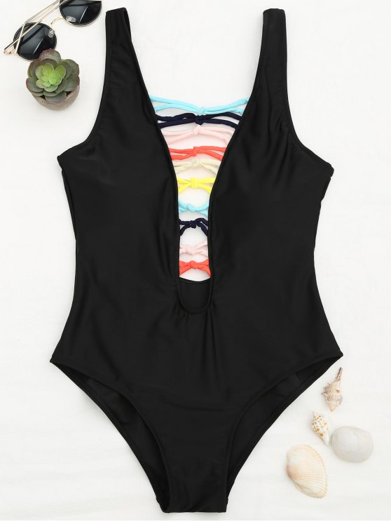 women's Shaping Strappy Front Plunge One Piece Swimsuit - BLACK S