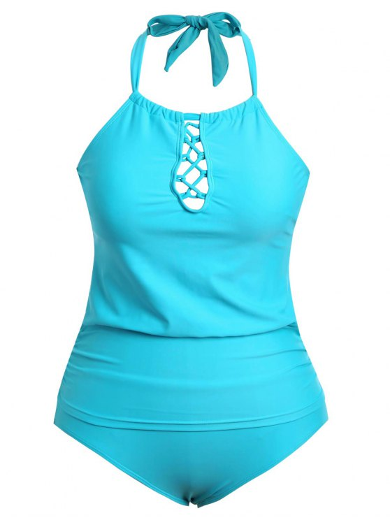 fancy Halter Tankini Plus Size Bathing Suit - LAKE BLUE XL