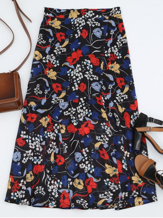 outfit Floral Print Maxi Skirt - BLACK L