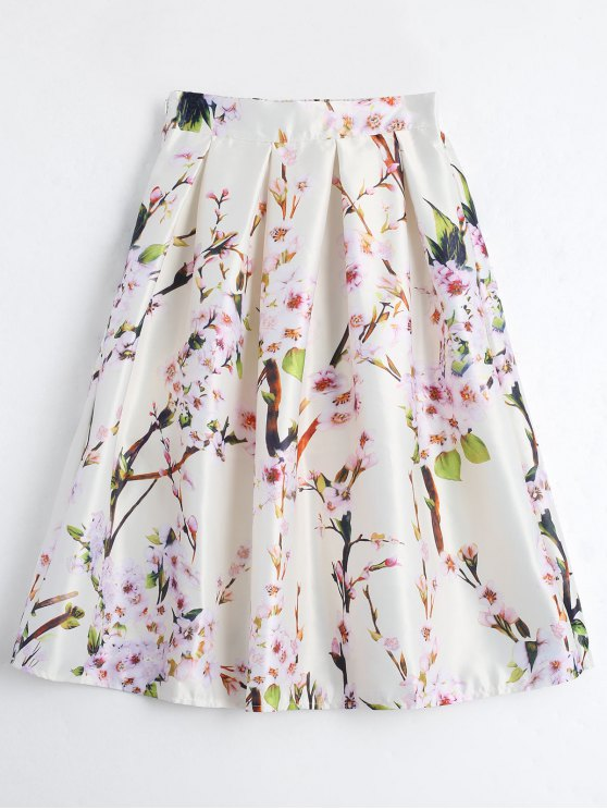 latest Floral Printed A Line Skirt - BEIGE ONE SIZE