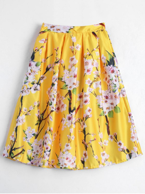 fashion Floral Printed A Line Skirt - YELLOW ONE SIZE