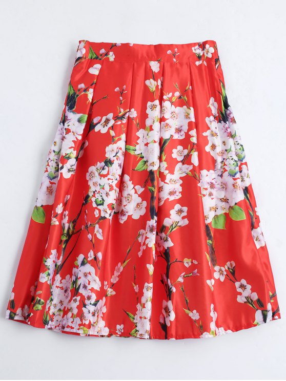 chic Floral Printed A Line Skirt - RED ONE SIZE