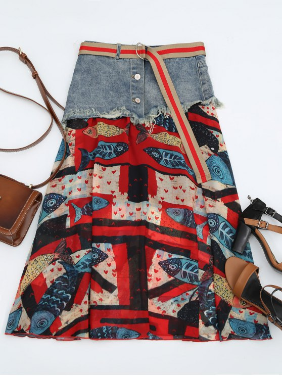 latest Fish Print Belted Denim Panel Skirt - MULTI L