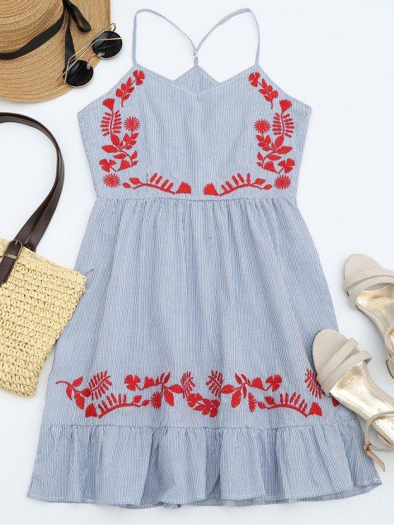 best Stripes Ruffles Embroidered Mini Dress - STRIPE ONE SIZE