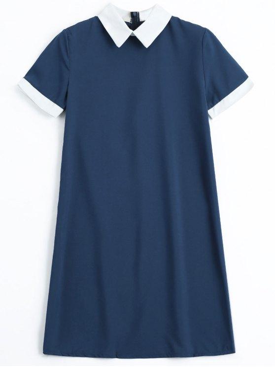 hot Back Zipper Two Tone Mini Dress - PURPLISH BLUE XL