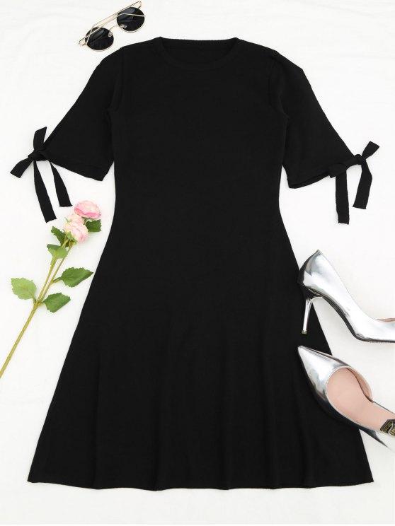 shops Knitting Split Sleeve Bowknot Mini Dress - BLACK ONE SIZE