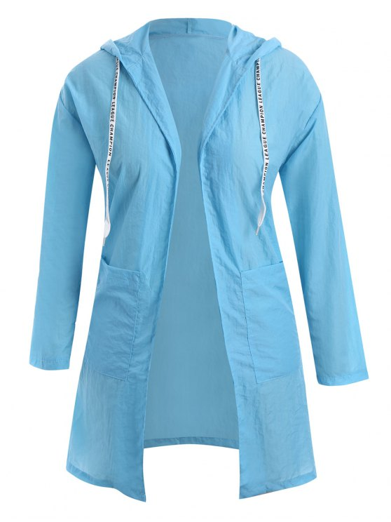 best Sun Block Hooded Drawstring Longline Coat - WINDSOR BLUE XL