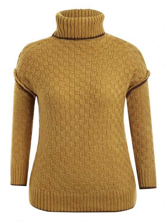 new Turtle Neck Plus Size Pullover Sweater - GINGER ONE SIZE(FIT SIZE XS TO M)