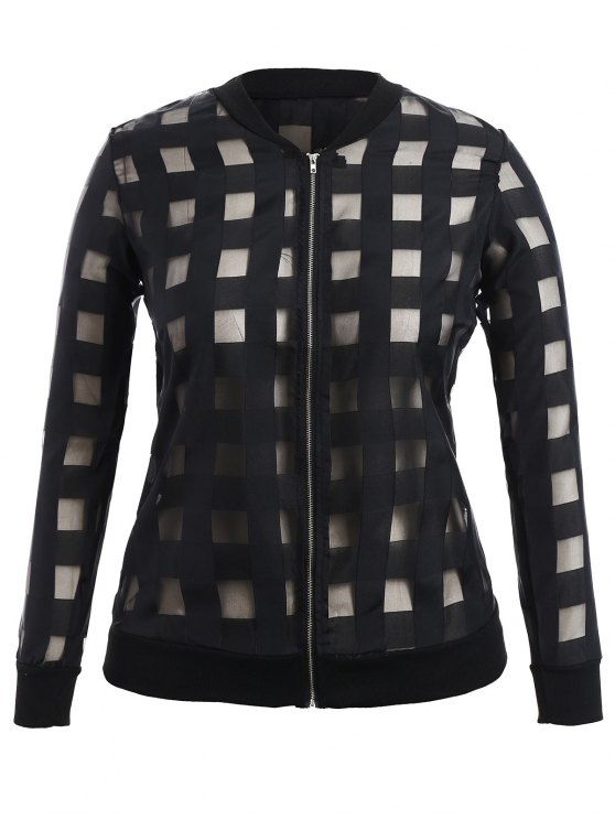 shop Organza Plus Size Sun Block Jacket - BLACK 4XL